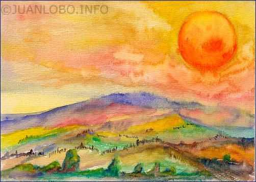 Die Sonne scheint in der Toskana sehr heiß trotz einer kühlen Brise vom Meer