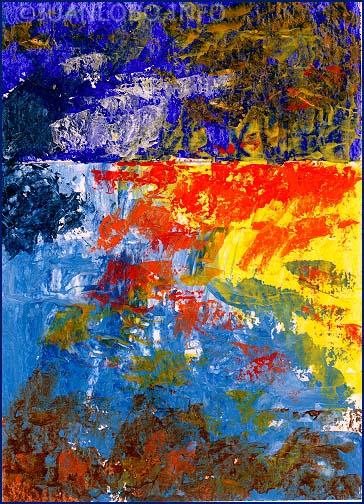 Sonnenaufgang am See: Das Blau empfängt das Gelb und läßt das Rot im Lebendigen entstehen.