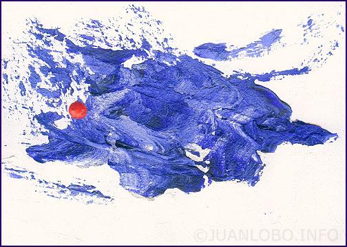 Das kleine Rot trifft das große Blau im unendlichen weißen Raum